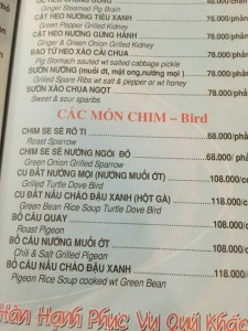 Birds on the Menu
